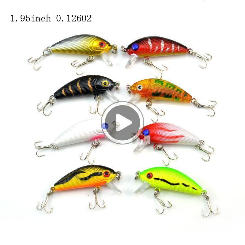 03U8 1 Pack 8Pcs 3.6g 5cm Carp Artificial Bait Fishing Lures Wobbler Fish Minnow Bass Lure Crankbait Trout Tackle Hook