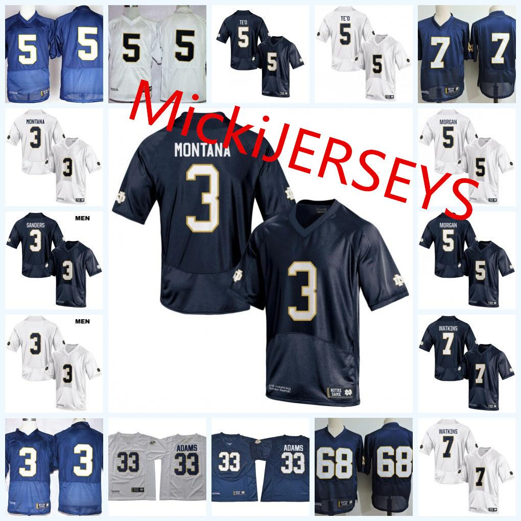 Mens NCAA ND # 3 Joe Montana del calcio Jersey # 68 Mike McGlinchey # 5 Manti Te'o # 7 Stephon Tuitt # 81 Tim Brown Jersey S-3XL