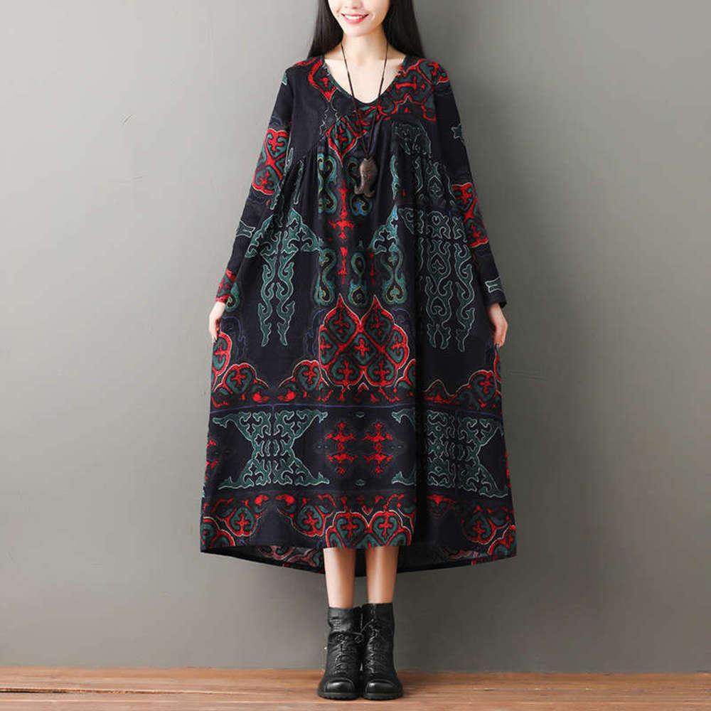 Vestido de lepra de manga de mujer otoño nuevo estilo de algodón coreano mediados de largo falda impresa