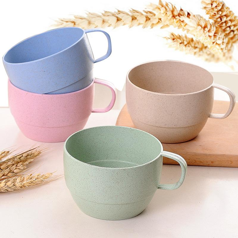 Office Coffee Cup Eco-friendly Mouthwash Cups Wheat Straw kitchen Accessories Milk Tea Cup tumbler the right cup copo com canudo