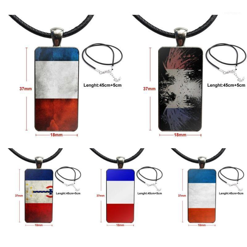 Para niñas Francia bandera nacional emblema joyería vintage chapado con vidrio cabujón gargantilla largo colgante collar collar1