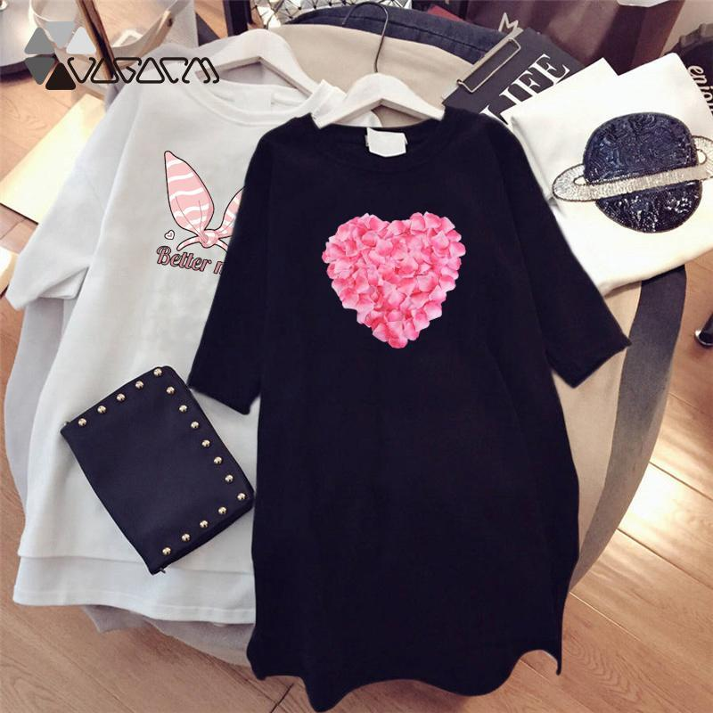 Summer Tshirt Dress For Women Kawaii Printed Casual Streetwear Plus Size Dress Fashion Black White Dresses Ropa De Mujer