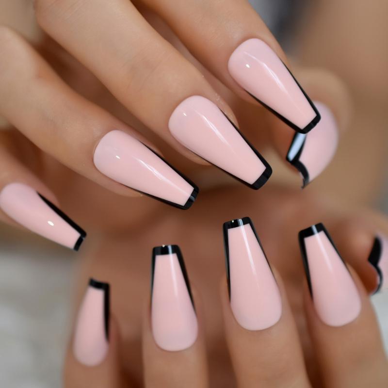 Trapezio francese del chiodo color nudo rosa unghie finte nera lunga superiore Tapered Coffin Nail Art punte Spesso riutilizzabile con adesivo Tabs