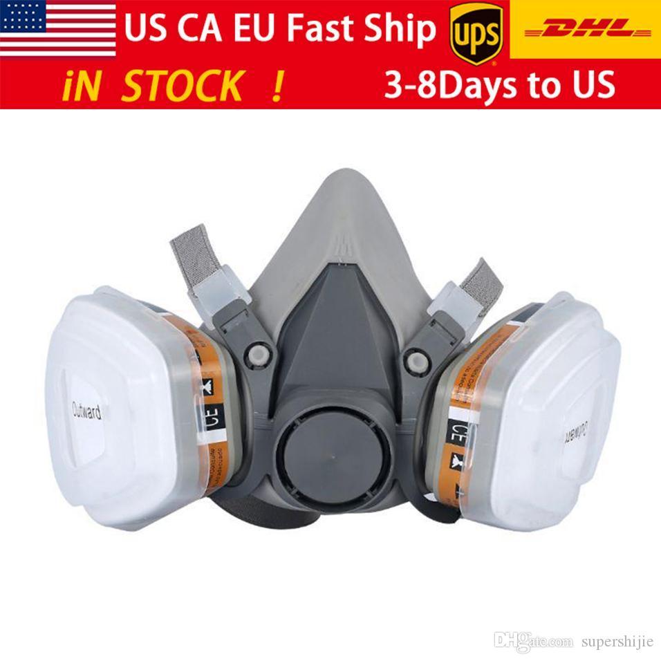 DHL / UPS 6200 7-parçalı sprey boyalı maske toz maskesi filtre maskesi yeniden aktive edilmiş karbon maske
