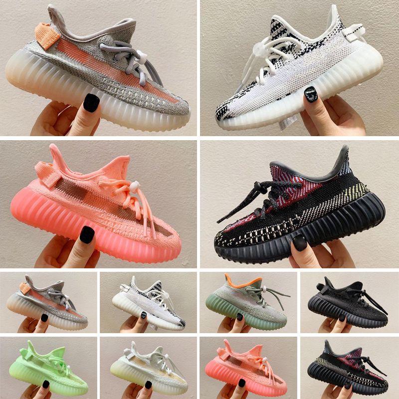 Adidas Yeezy 350 Boost 2021 أحذية أطفال أحذية أحذية كلاسيكية أسود أبيض الرياضة المدربين الرضع فتاة بوي المدرب وسادة سطح الرياضة أحذية أطفال