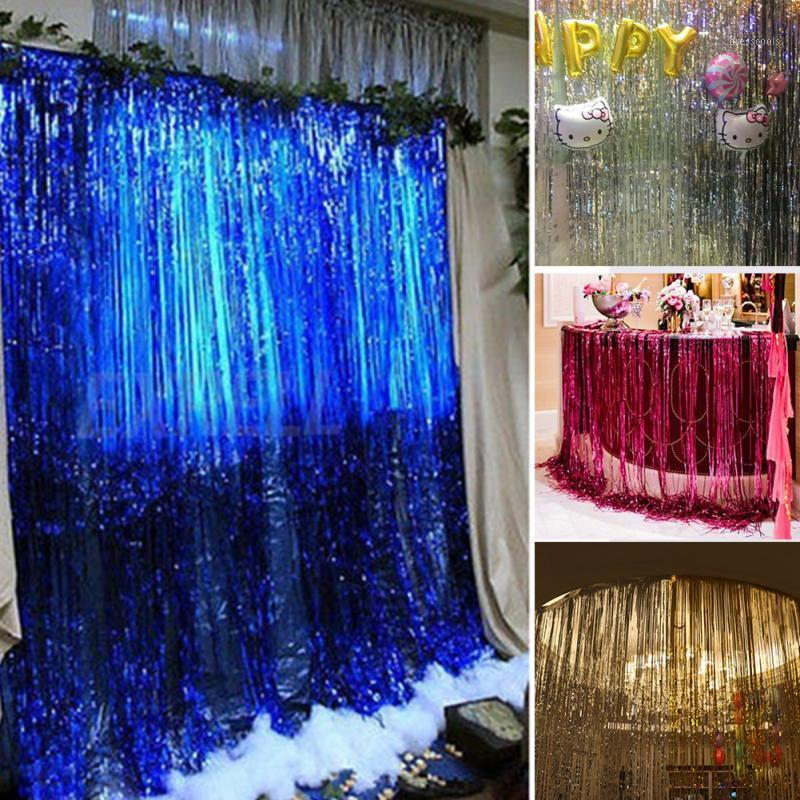 Wholesale-1M*2M Metallic Fringe Curtain Party Foil Tinsel Room Decor door curtain Christmas/Birthday/Wedding Party Photo New Year1