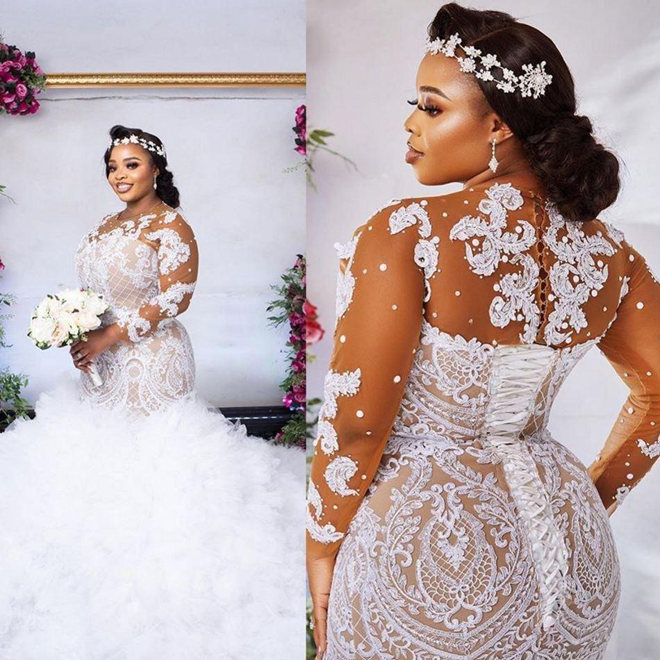 Plus Size Illusione Abiti da sposa a maniche lunghe 2021 Sexy African Nigerian Gioiello Collo Lace-Up Back Mermaid Applique Applique Bride Gowns