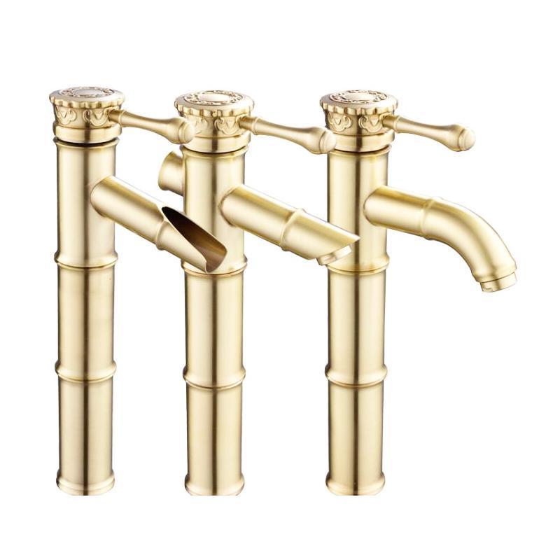Золотой цвет латунь Материал бортике холодной горячей воды 3 Размер бамбука Модель кран