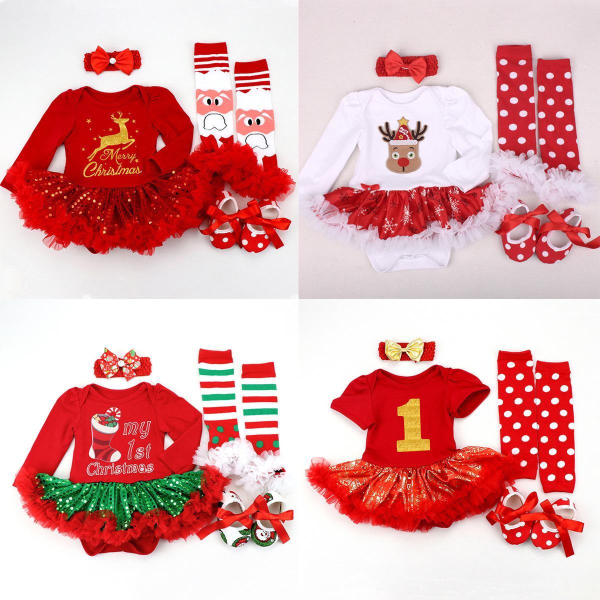Weihnachten Baby Kleidung Neugeborene Mein erster Weihnachtskostüm ROUPA Baby Tutu Strampler Mädchen Kleid Infant Spitze 4 stücke Kleidung Set 201118