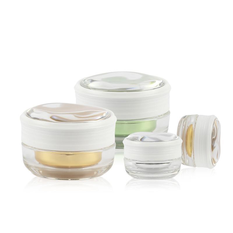 Frascos de armazenamento frascos 12pcs 5g 15g vazio acrílico cosmético creme frasco de contêiner, estanho de panela de garrafa de cuidados pessoais