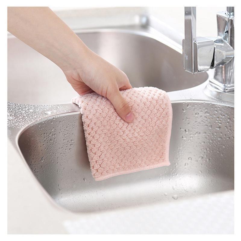 3colors absorbentes de microfibra de la microfibra de la toalla de la toalla de la toalla de la limpieza de coral de coral plato plato plato de plato herramientas de trapo gadgets tela hogar h bbynrt