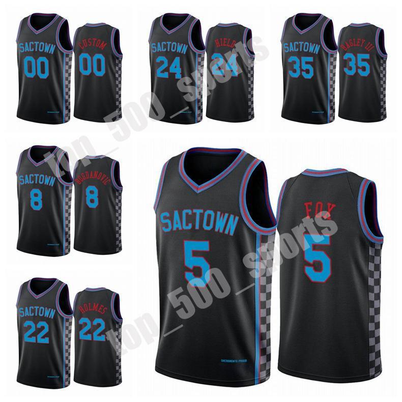 Novos Homens Buddy Hield Deaaron Fox 2020/21 Swingman City Basketball Jersey Black Icon Edition 1