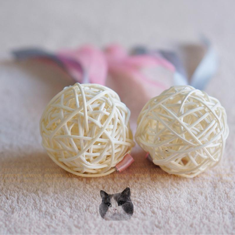 Cat Toys Pet Cats Toy Favorite Natural Rattan Woven Cane Balls With Jingle Bells