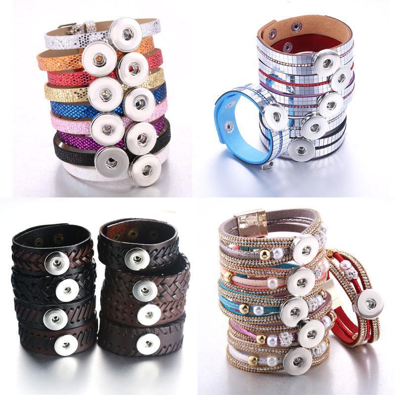 Venta al por mayor 10pcs / lot Snap Jewelry Pulsera Snap Brazalet Bangles Fit 18mm Snap Button Jewelry para mujeres Hombres Bricolaje Q SQCRES