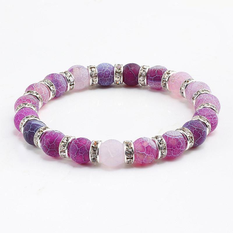 Фиолетовый Закаленный кристалл природного камня Бусины Подвески Браслеты Стразы Transfer Лаки Vintage браслет ювелирных изделий для женщин Подарок