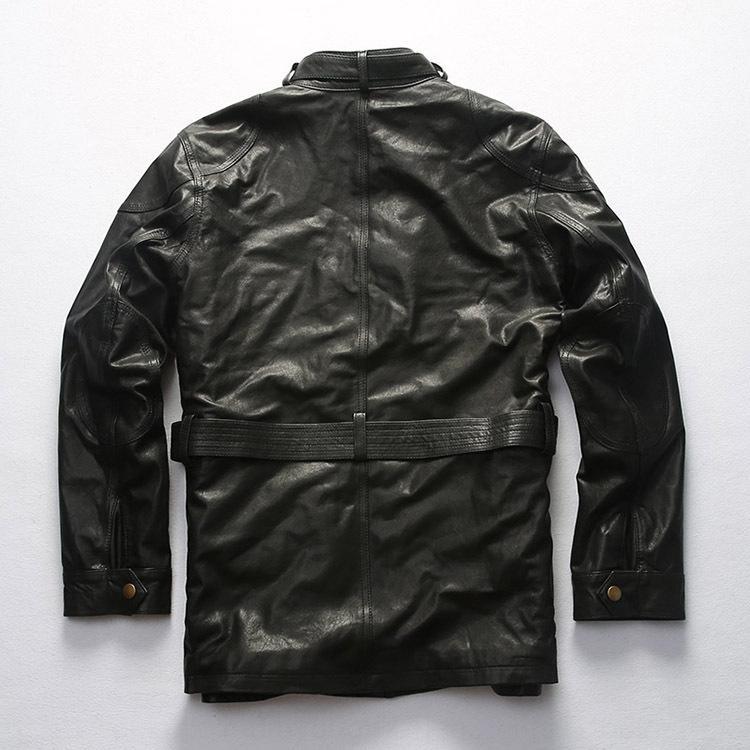 comprimento médio da motocicleta couro suporte das jacketmen motocicleta Casaco de pele pele coatcollar multi bolso com cinto de couro tanne lazer vegetal