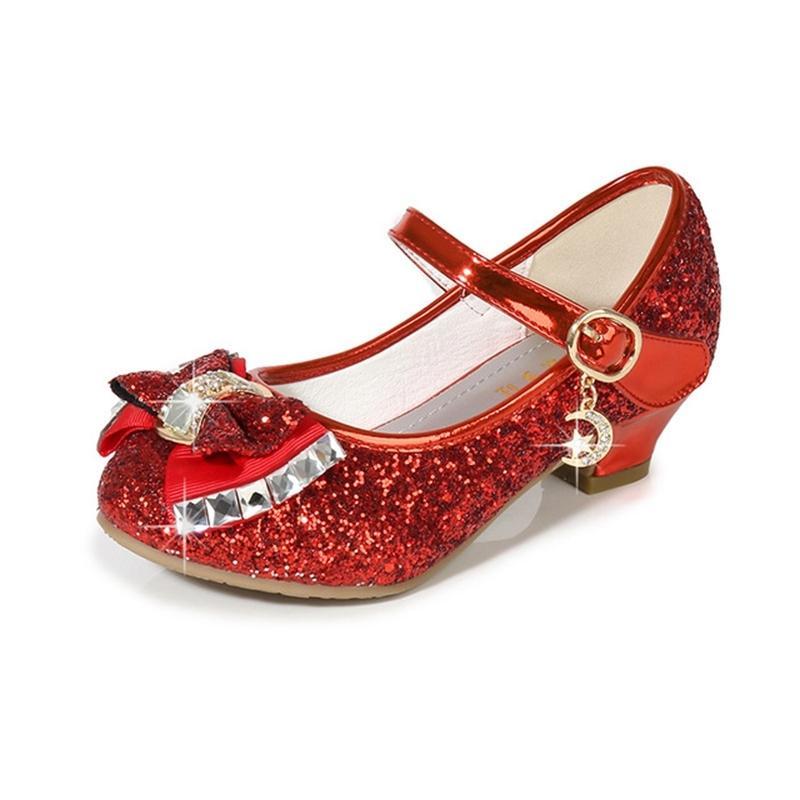 Salto da menina Glitter Crianças Festa Lantejoula Bow Princesa Adolescentes Meninas vermelhas Dança Dress Up sapatas para miúdos KS572