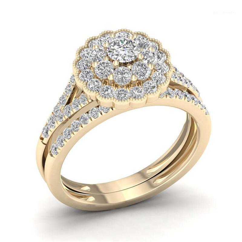 Natural branco 2,5 s diamond jóias 14k anel de ouro para mulheres Forma de flor do vintage bizuteria pedras preciosas anilhas de ring1