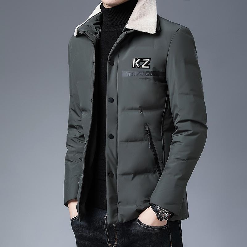 Неформальное Модное пальто зимы, утки Перья и кожа шея, северокорейские Ветровки, Parça, Мужская одежда, 2020