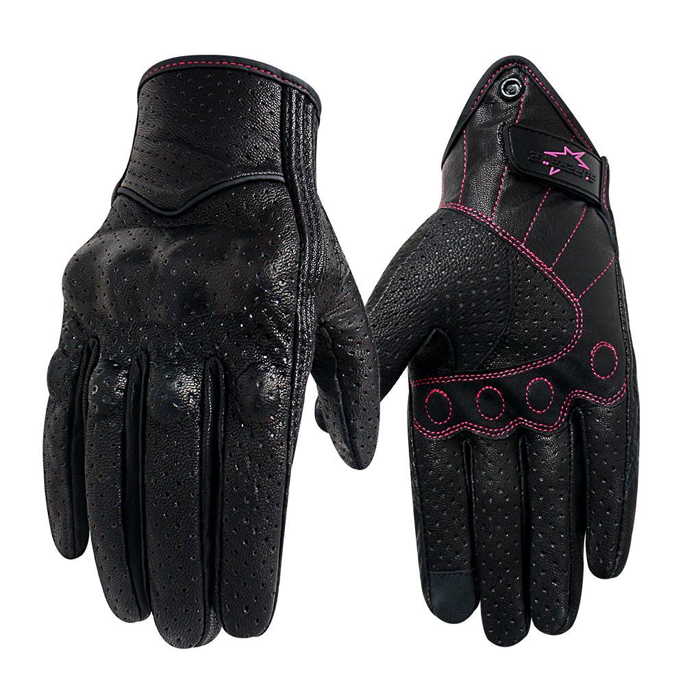 Мотоцикл перчатки Женщины XS S M кожа сенсорный экран лето Мотор Guantes Велоспорт перчатки Женский мотокросс мотоцикл Luvas Mujer 201019