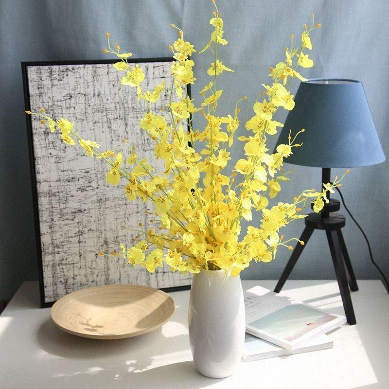 100 centímetros Orchid Artificial ramo da flor Início Jardim Flor da festa de aniversário de casamento Decoração Acessórios Arranjo Falso Flores FgHy #
