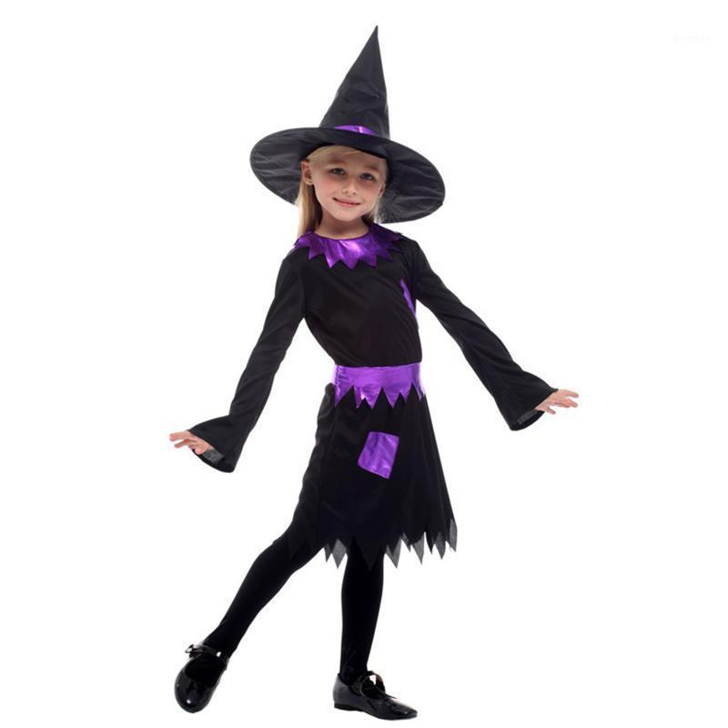 Huihonshe New Halloween Costume для детей ведьма Костюм девушка B Платье с шапкой фантазии карнавальная партия малыш Рождество1