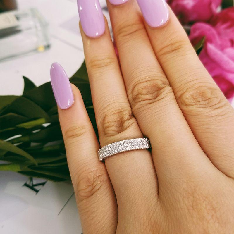 Anillo originales de la banda real sólida plata de ley 925 para la eternidad compromiso de la boda de las mujeres de lujo de la joyería del anillo de dedo moonso R802S