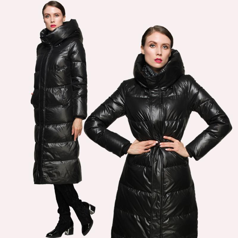 Марка Теплый 90% белая утка вниз Зимняя куртка утепленная 2020 высокого качества Европейский Толстые Long Hood куртки для женщин HJ574