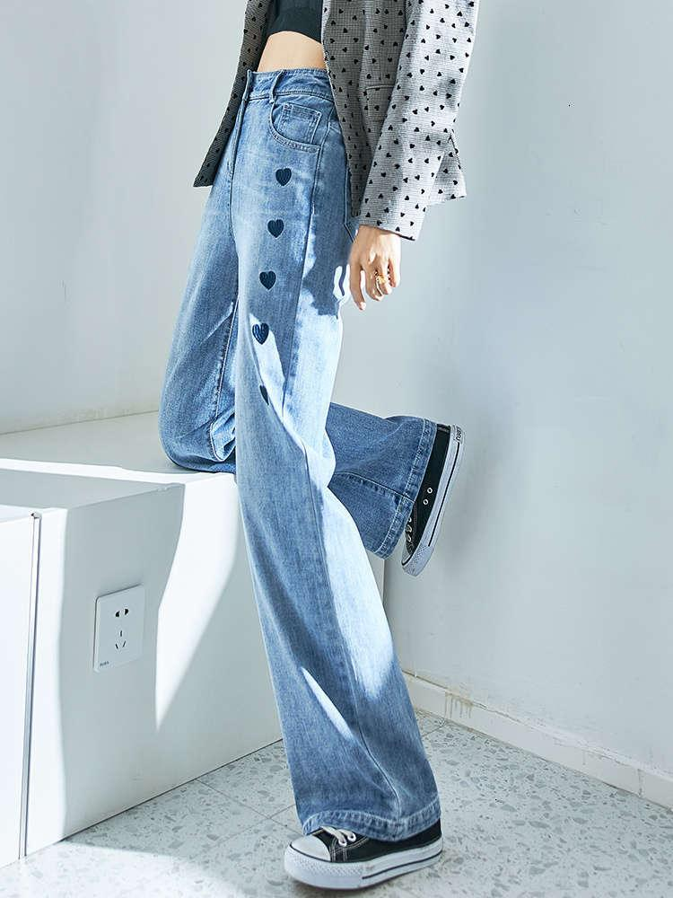 Love high waist straight jeans women's loose wide leg show thin embroidery spring and autumn 2021 new pants