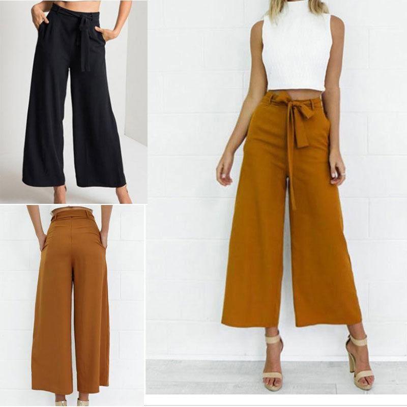 Estate vendita calda moda alta vita cravatta in vita pantaloni streetwear donne ampia gamba pantaloni pantaloni lunghi culottes pantaloni