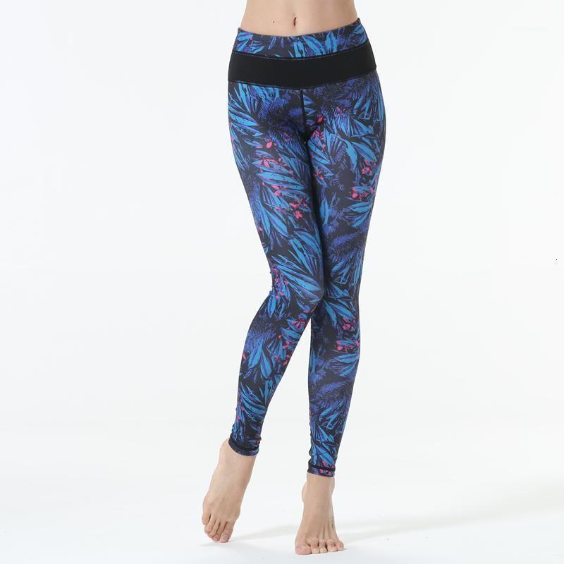 Yoga Outfits Цветок Синий Печатная Сексуальная Новинка 3D Женщины Леггинсы Космические Профессиональные Высокое Качество Ткань1