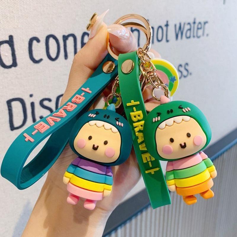 Творческий мультфильм Геометрическая Грановитая Динозавр Кукла брелок Пара автомобилей Key Chain Рюкзак висячий подарков Радуга Красочный
