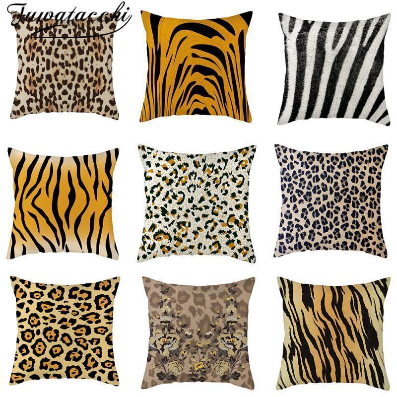Fuwatacchi Zebra Tiger Kissenbezug Leopard bedruckt Leinen Wurfkissenbezüge für Home-Sofa Dekor Kissenbezüge Funda Cojin1