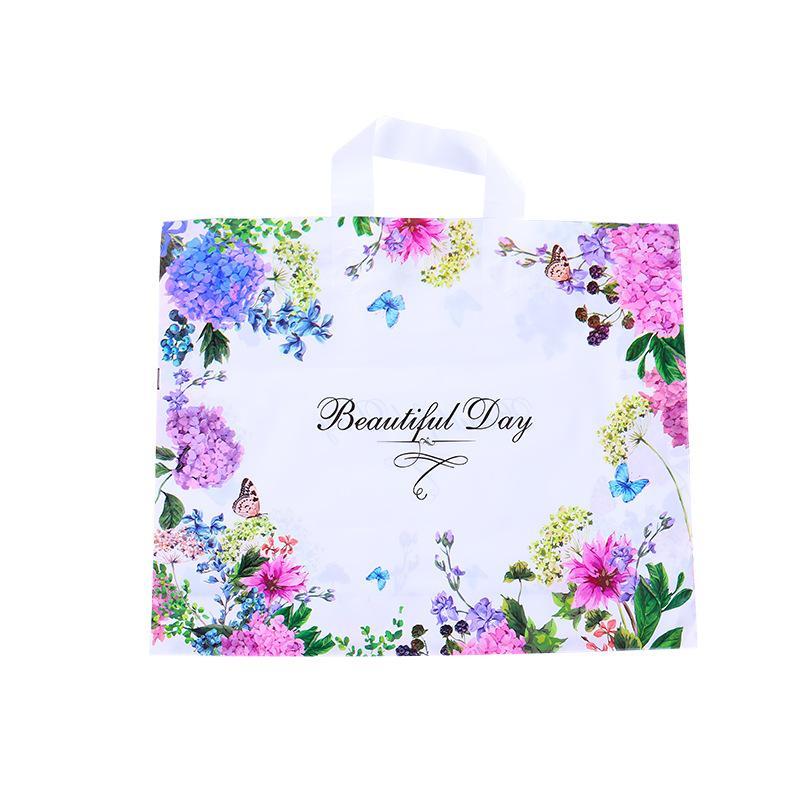Frauen Mode Verpackungstasche Einkaufen Kunststoff Kleidung Ornamente Verpackung Taschen Farbe Blume Schmetterling Handtasche Schöner Tag NEUER ARR 0 69HH F2