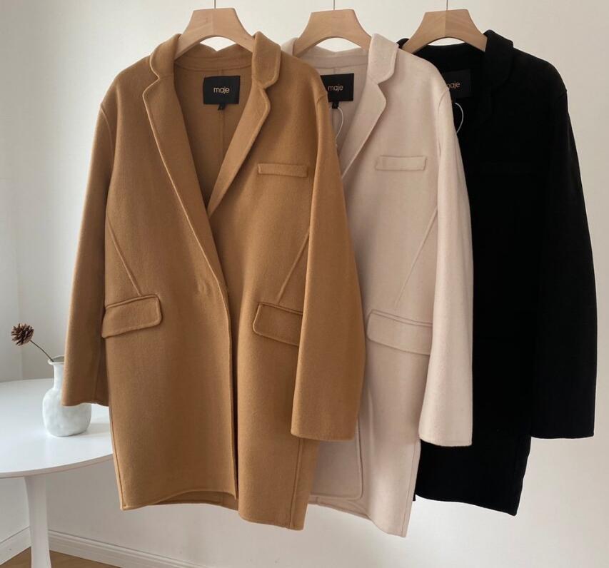 2020 Mode maj Laine Femmes Pardessus coupe-vent de luxe CONCEPTEUR JudithMilgrom classique manteau cachemire noir kaki blanc