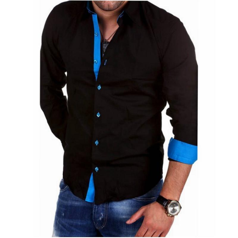Uomini shirt Camicie maschio di marca a manica lunga di alta qualità casuale Hit colore del vestito Uomo Slim Fit Nero camice 4XL Y200930