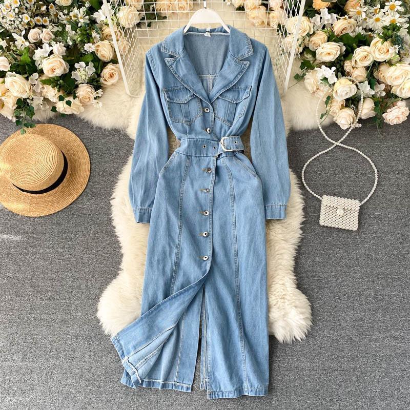 Autumn Winter Denim Dress 2020 Korean Long Sleeve Jeans Long Women Dress Female Streetwear Bodycon Shirt Vestido De Mujer