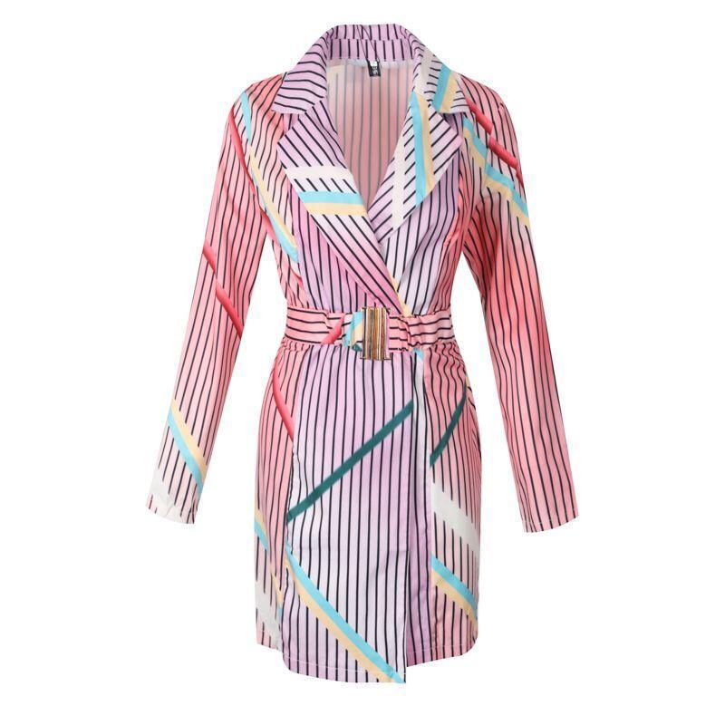 2020 Otoño de colores de impresión de rayas vestido de la chaqueta de la Mujer elegante casual de Long Blazer Mujeres Streetwear Office Lady Mujer
