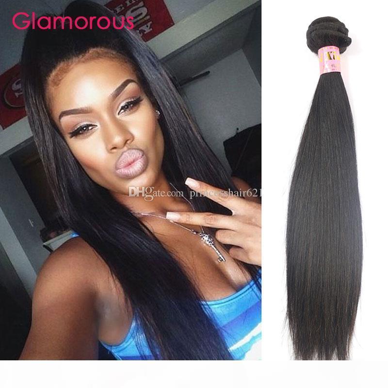 Glamour Human Cheveux Weave Brésilien Malaisien Indian Péruvien Vierge Virgin Bundles 1 Pièce 100g PCS Extensions de cheveux droits pour femmes noires