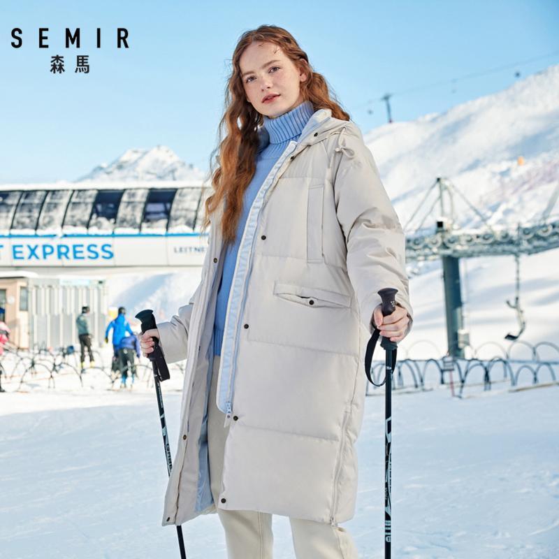SEMIR Duck Down Jacket Women Winter-Oberbekleidung Mäntel weibliche lange beiläufige Licht ultradünne warme Daunenjacke Marke 201020