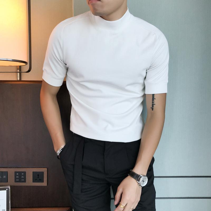 Мода T Shirt Мужчины осень зима с коротким рукавом Мужские футболки Slim Fit Streetwear Водолазка Твердая Casual Tee Shirt Homme 201012