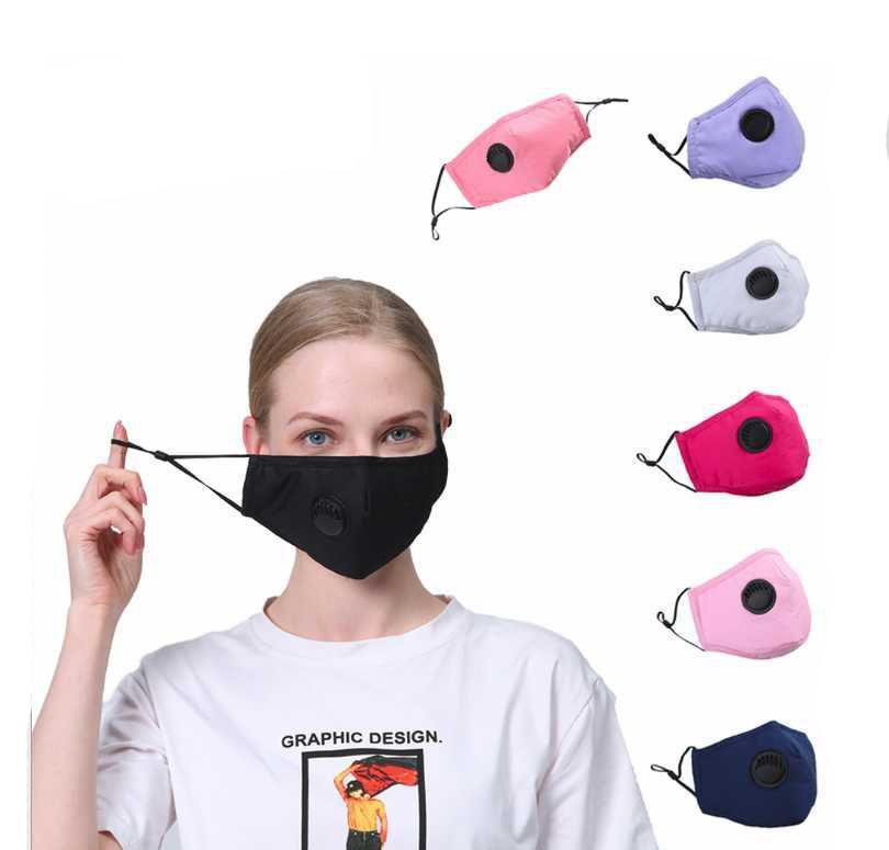 Máscaras Friteros Cara de algodón PM2.5 Válvula de respiración de la nave Mascarilla de la boca unisex con tela Reutilizable Drop Down Anti-Polvo Máscara Lavable Epack Anhjc