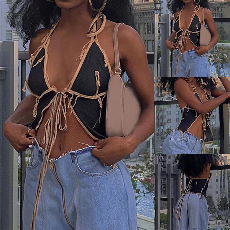 Nibber Sexy Black Mesh Low Cut Crop Tops Camisole Damen Club Party Nacht Tragen Göttin Patchwork Design Falten Tank Tops Weibliche JSRMP