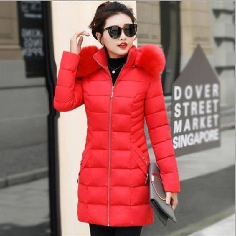 Women's Down & Parkas 2021 Women Fashion Long Winter Cotton Jacket Coat Lady Pocket Hooded Warm Coats