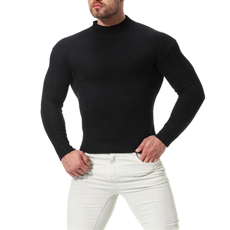 New Winter Men's Sweater Casual Pullover Mens Warm Sweaters Man Slim Stand Collar Knitted Pullovers Male 201023