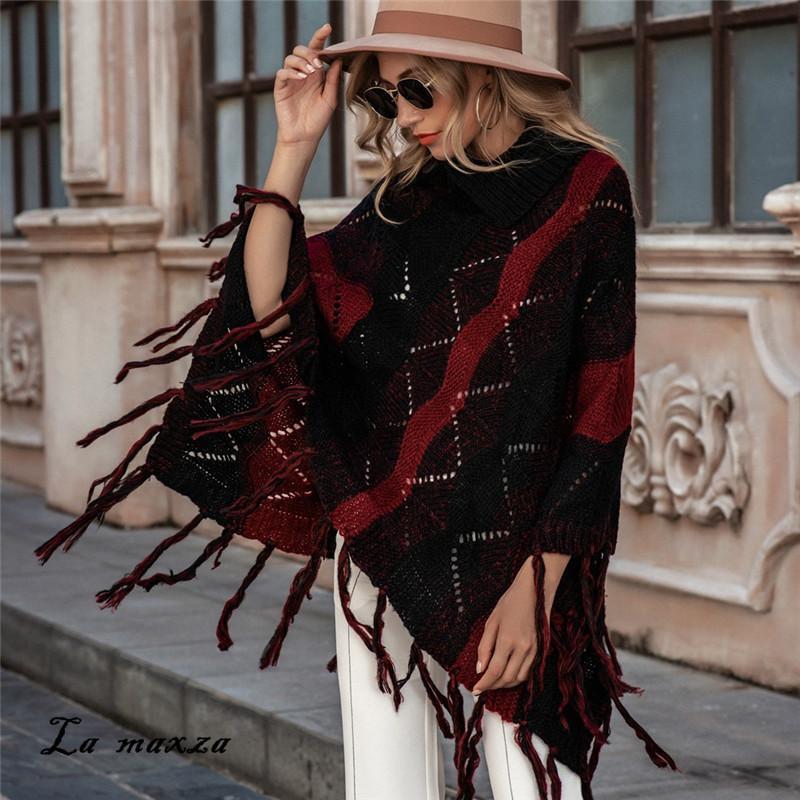 Invierno 2020 Print mujeres oscilación borla de la manera de la vendimia O-cuello de punto suéteres flojos de las señoras