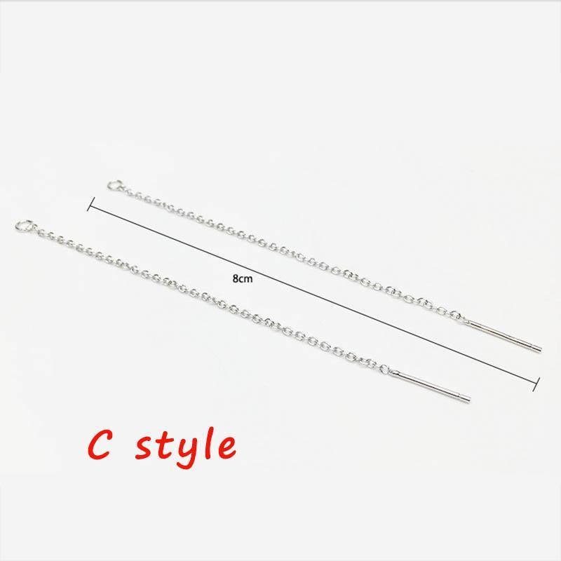 Стерлинговые серебряные серебряные серебряные серебряные серебряные 8 12 см Серьги Chain Charm для Diy Ювелирные изделия Изготовление нахождения длинной кисточки Серьги AccessoRiessplier H BBYVHV
