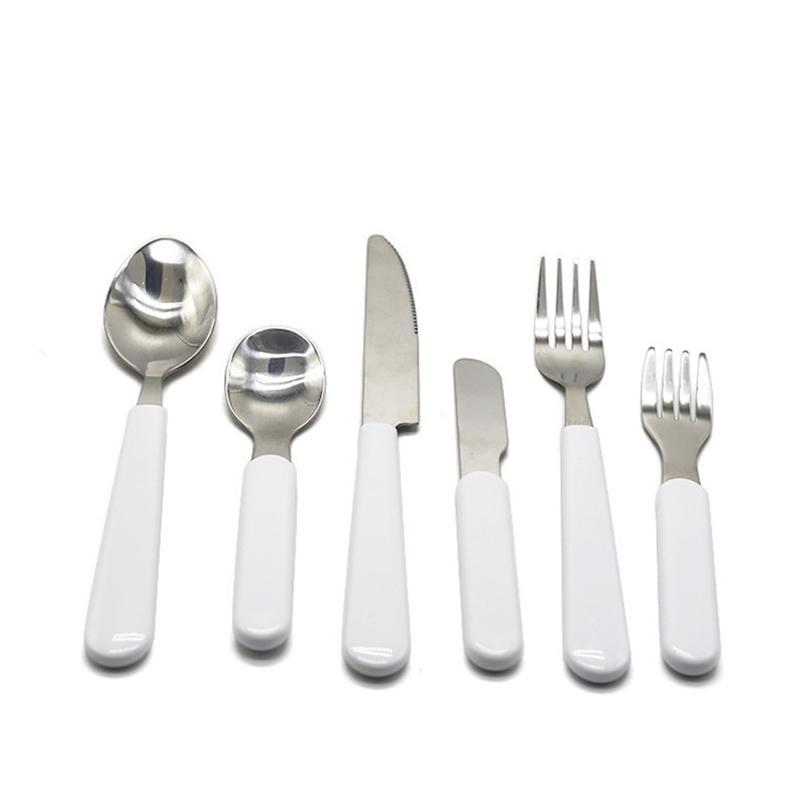 التسامي طقم أدوات المائدة البيضاء المقاوم للصدأ السكاكين أدوات المائدة الغربية الفضائيات سكين المطبخ ملعقة شوكة عشاء مجموعة الاطفال الكبار H12504