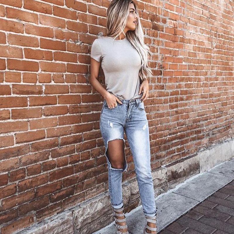 Nuevos jeans de moda Jeans de cintura alta para mujer Pantalones de lápiz Pantalones rasgados Agujeros Elásticos Pantalones Pantalones Pantalones Para Lady Plus Tamaño