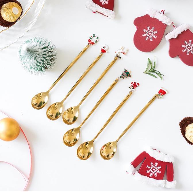 السنة الجديدة معدن عيد ميلاد سعيد ملاعق حزب عيد الميلاد الحلي أدوات المائدة زينة عيد الميلاد للمنزل الجدول نيفيداد نويل هدية